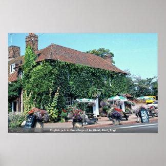 Pub inglés en el pueblo de Matfield, Kent, Inglés Poster