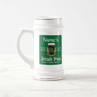 Pub irlandés personalizado Stein Jarra De Cerveza