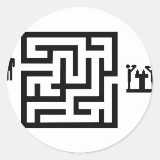 pub labyrinth icon classic round sticker