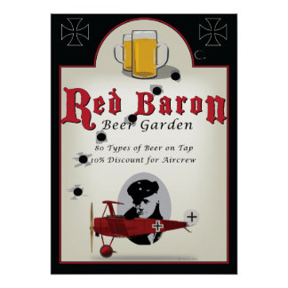 Pub Sign, Red Baron Beer Garden Poster