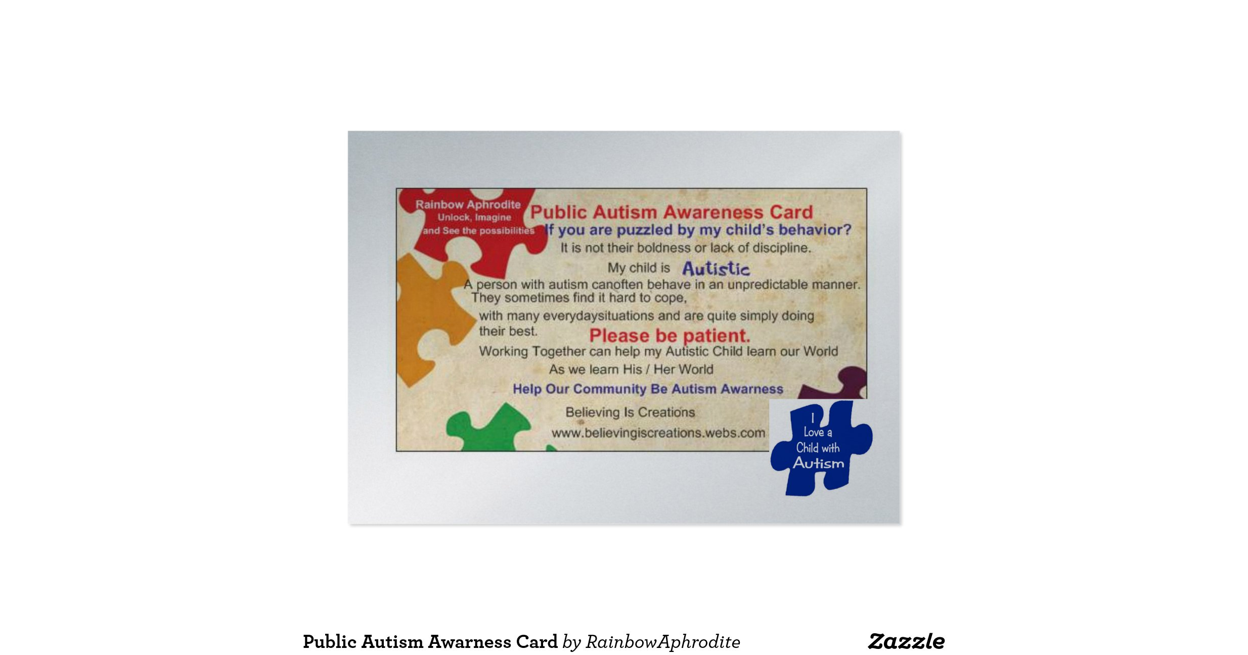 Public Autism Awarness Card Business Cards Pack