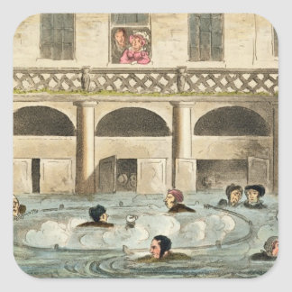 Public Bathing at Bath, or Stewing Alive, print pu Square Sticker