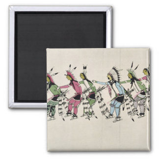 Public dance in honour of the warrior He Dog (ink 2 Inch Square Magnet
