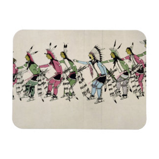 Public dance in honour of the warrior He Dog (ink Rectangular Photo Magnet