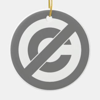 Public Domain Anti-Copyright Symbol Ceramic Ornament