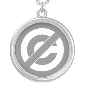 Public Domain Anti-Copyright Symbol Silver Plated Necklace