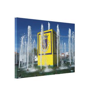 Public fountain in Azores islands Canvas Print