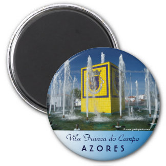 Public fountain in Azores islands 2 Inch Round Magnet