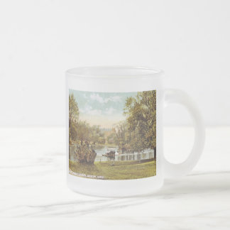 Public Garden, Boston 1909 Vintage Frosted Glass Coffee Mug