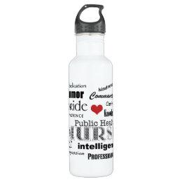 Public Health Nurse-Attributes//red heart Water Bottle