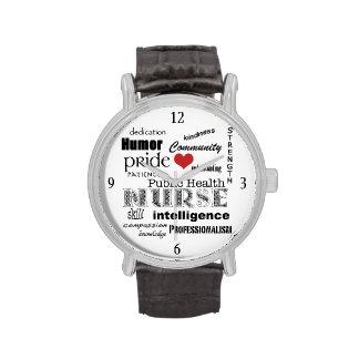 Public Health Nurse-Word Cloud+Red Heart Wrist Watches