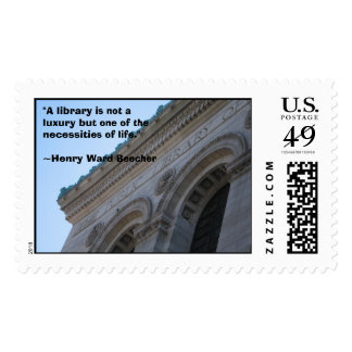"Public Library, ""A library is not a luxury but ... Postage Stamps"
