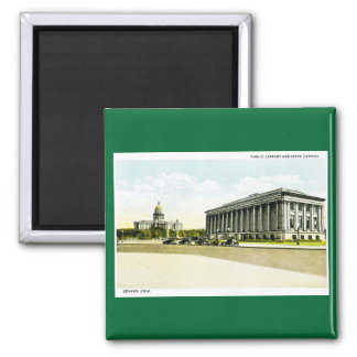 Public Library and State Capitol, Denver, Colorado 2 Inch Square Magnet