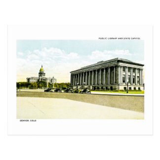 Public Library and State Capitol, Denver, Colorado Postcard