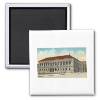 Public Library, Boston 1911 Vintage 2 Inch Square Magnet