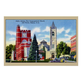 Public Library, Church, Tavern, Nashua NH Poster