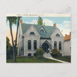 Public Library, Gouverneur New York 1920s vintage postcard