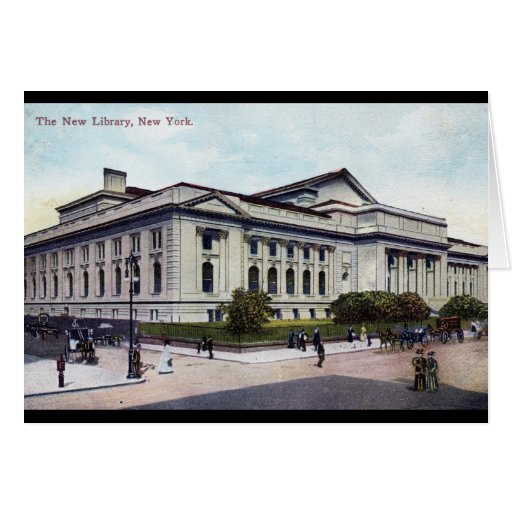 Public Library, New York City 1915 Vintage Card