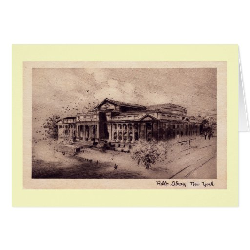 Public Library, New York City Vintage Greeting Card