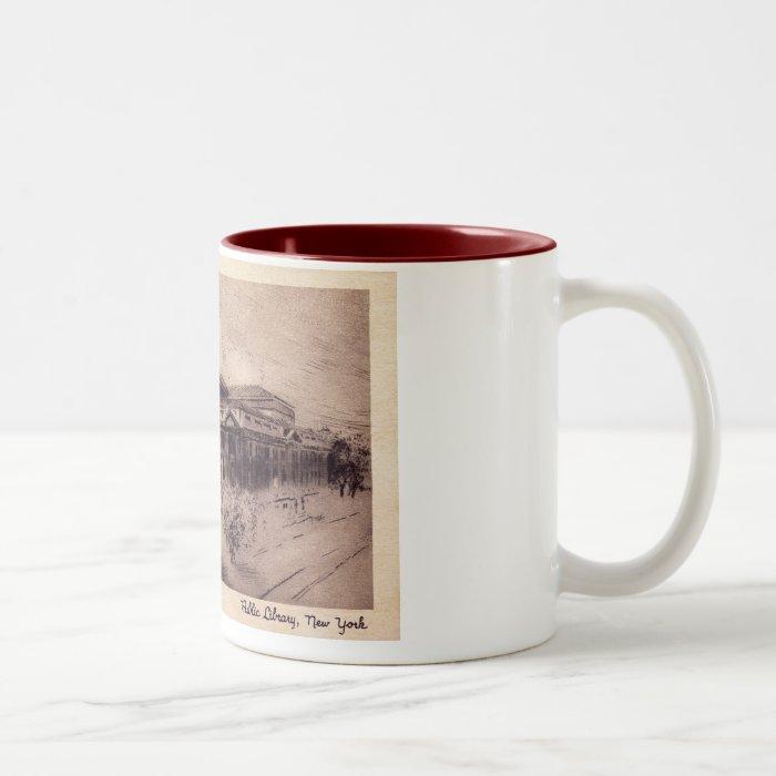 Public Library, New York City Vintage Two-Tone Coffee Mug