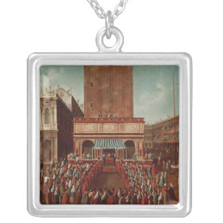 Public Lottery at Loggetta, the Piazza San Silver Plated Necklace