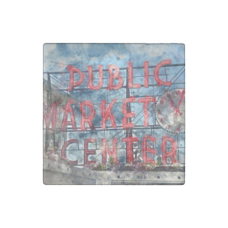 Public Market Center in Seattle Washington Stone Magnet