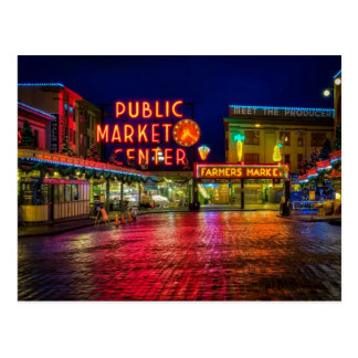 Public Market Center Sign at Pike Place Market Postcard