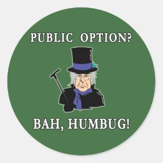 Public Option? Bah, Humbug!  Scrooge T shirt Classic Round Sticker