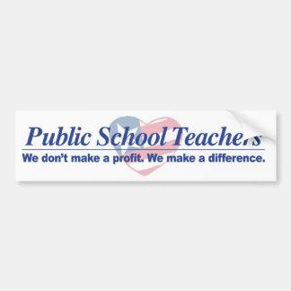 Public Schl Teachers Make Difference Bumper Sticke Bumper Sticker