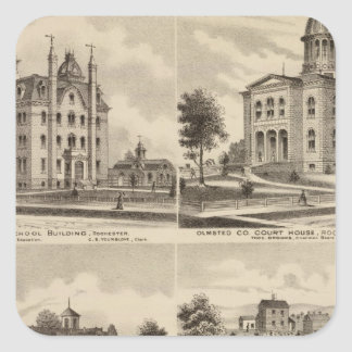 Public School, Court House, Minnesota Square Sticker