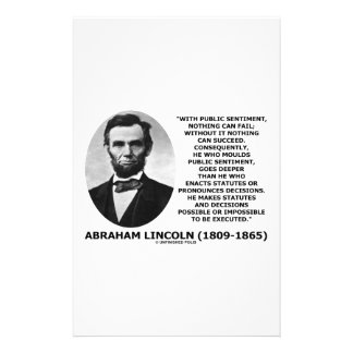 Public Sentiment Nothing Can Fail Lincoln Quote Stationery