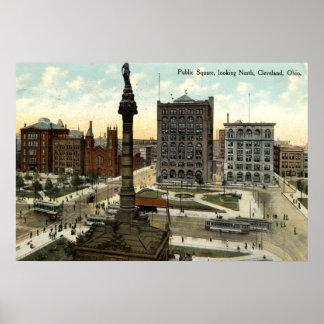 Public Square Cleveland Ohio 1910 vintage Poster