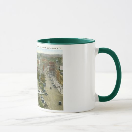 Public Square, Watertown NY 1928 Vintage Mug