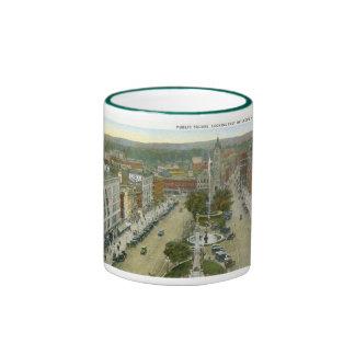 Public Square, Watertown NY 1928 Vintage Ringer Mug