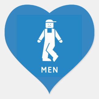 Public Toilet Men, Sign, California, US Heart Sticker