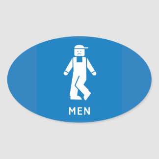 Public Toilet Men, Sign, California, US Oval Sticker