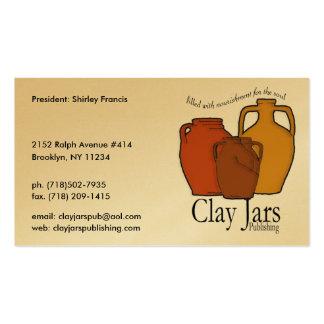 Publicación de los tarros de la arcilla tarjeta de visita