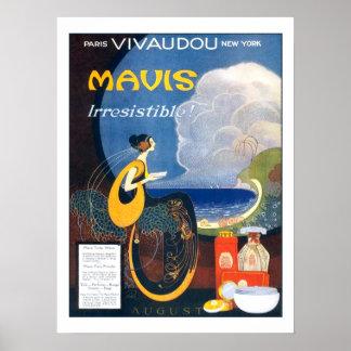 Publicidad 1920 del perfume de Mavis del art déco Póster