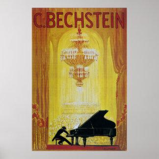 publicidad 1920 del piano del vintage póster