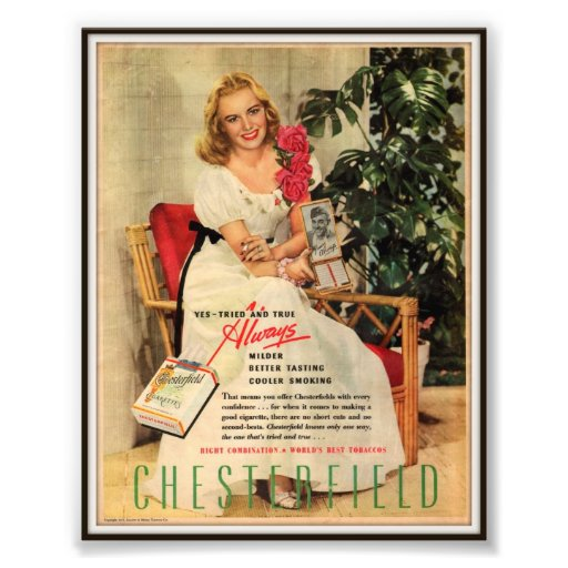 Publicidad de cigarrillo de Chesterfield del vinta Fotografías