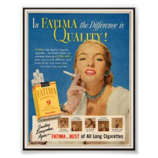 Publicidad de cigarrillo de Fátima del vintage 195 Foto