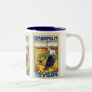 Publicidad de la bicicleta del vintage de Cosmopol Taza