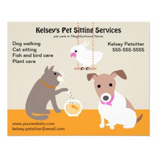 Publicidad de negocio del mascota que se sienta flyer personalizado