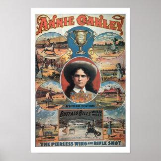 Publicidad de poster Annie Oakley que ofrece en Bu