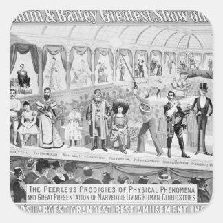 Publicidad de poster, 'el Barnum y el Bailey Pegatina Cuadrada
