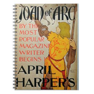 Publicidad de poster Juana de Arco en abril Harp Libro De Apuntes