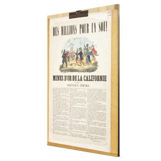 Publicidad de poster las minas de oro en Californi Lona Envuelta Para Galerias
