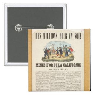 Publicidad de poster las minas de oro en Californi Pin Cuadrada 5 Cm
