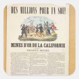 Publicidad de poster las minas de oro en calcomanías cuadradases