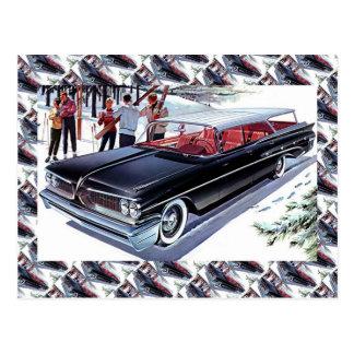 Publicidad del coche del vintage, esquí en coche postal